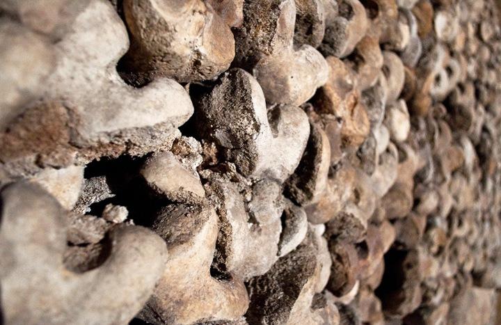 Piles of bones in the catacombs