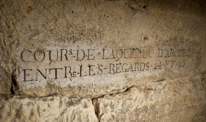 Carvings in the Paris catacombs