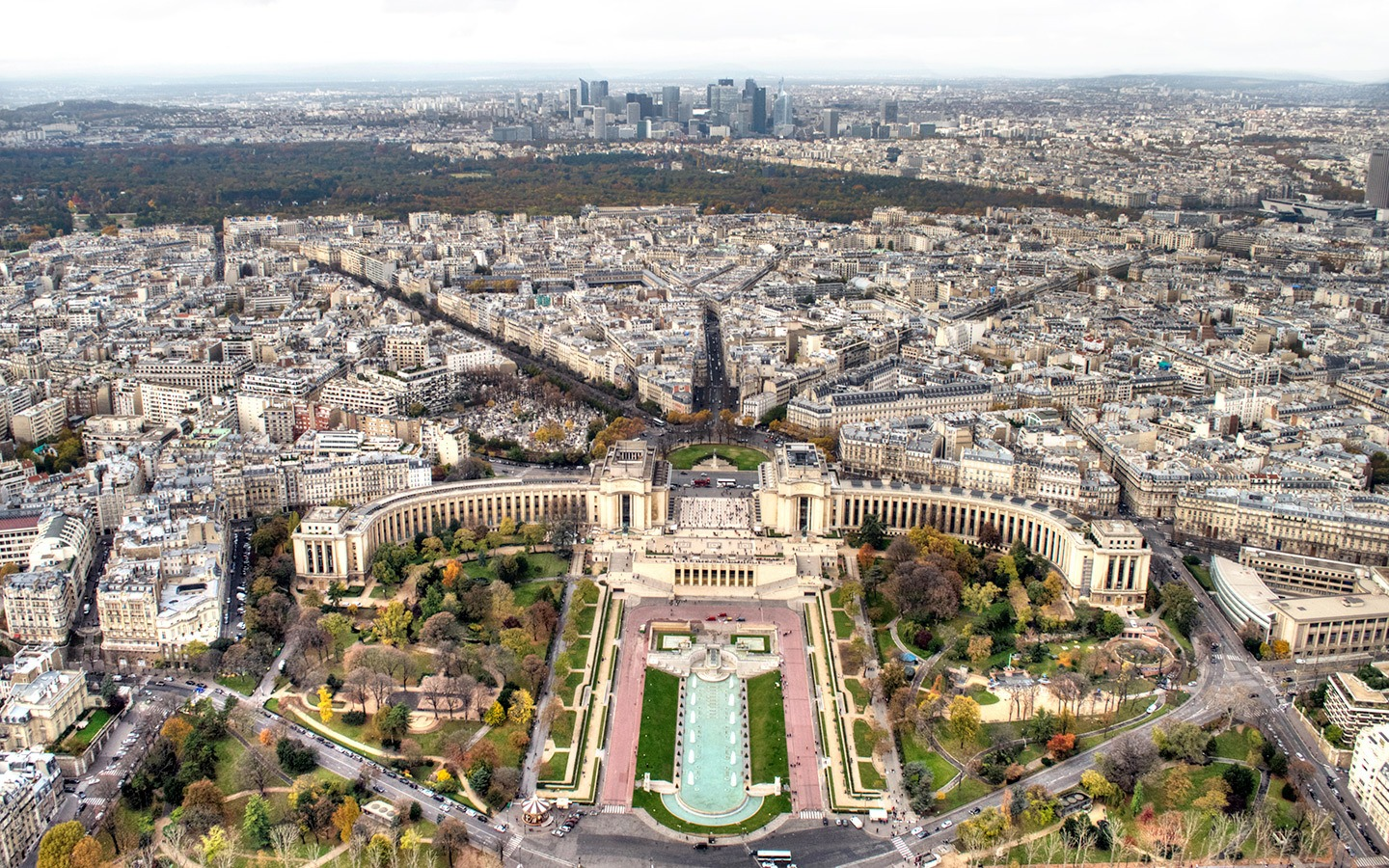 View across to Trocadero from the second floor of the Eiffel Tower
