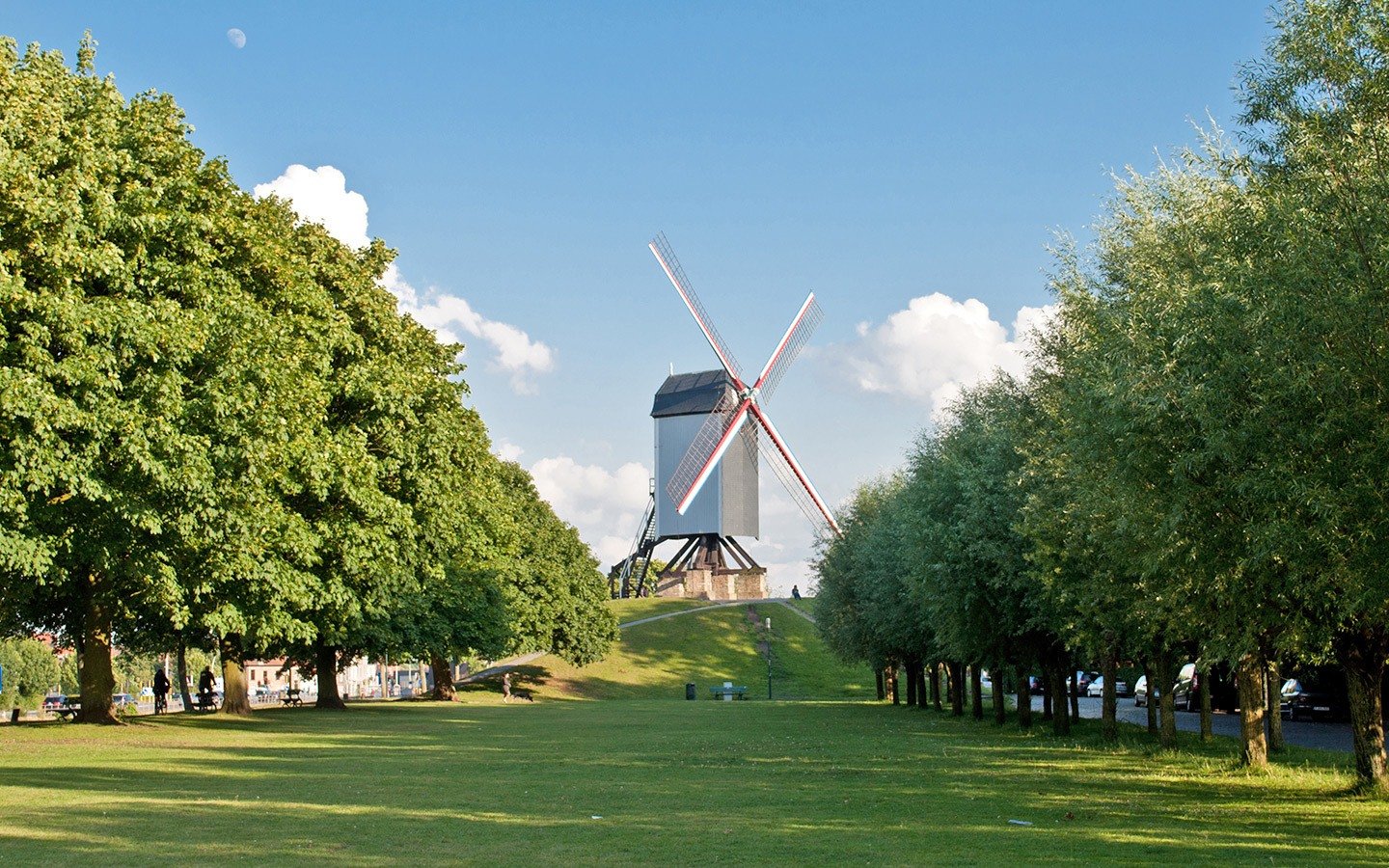 Windmills in parkland on the edge of Bruges