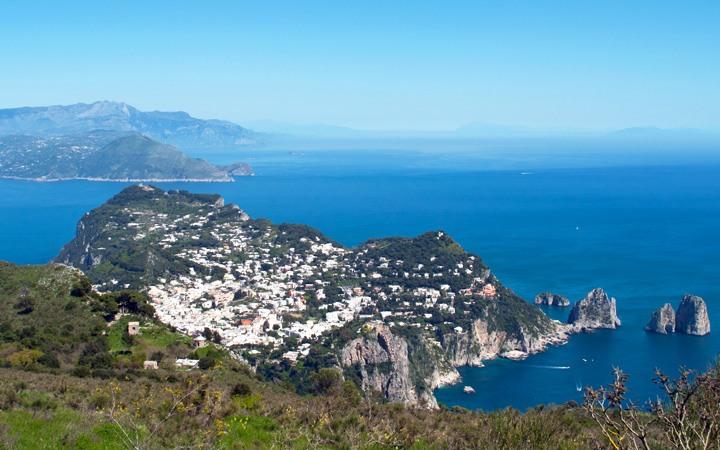 View across Capri from the top of Monte Solaro, Italy