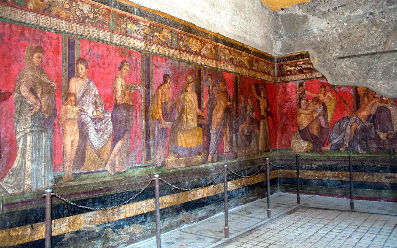 Villa dei Misteri frescoes in Pompeii