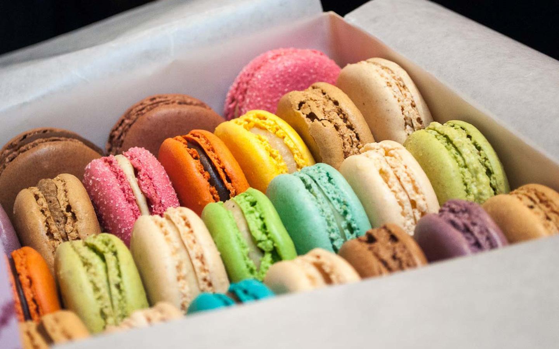 Colourful macarons on the English Tea and Desserts London food tour food tour