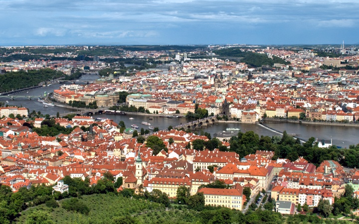 View across Prague from the top of the Petrin Tower, Czech Republic