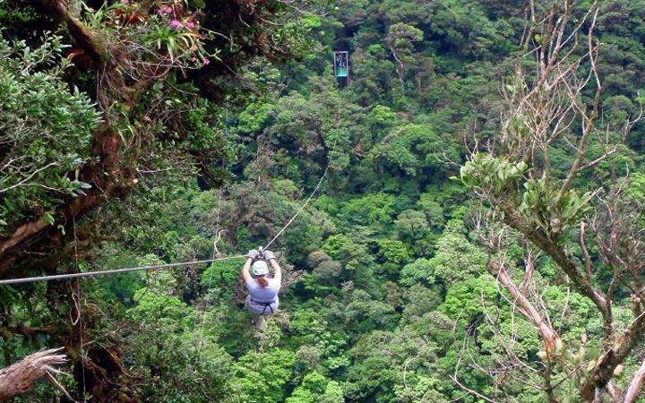 Zip lining across the cloud forest in Monteverde, Costa Rica