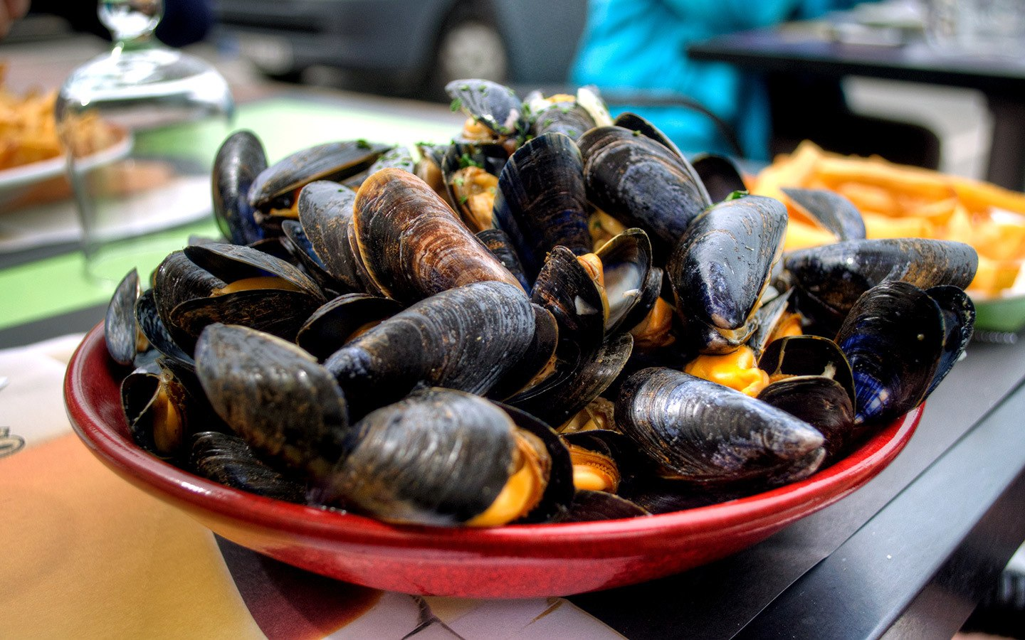 Moules and frites in Paris, France