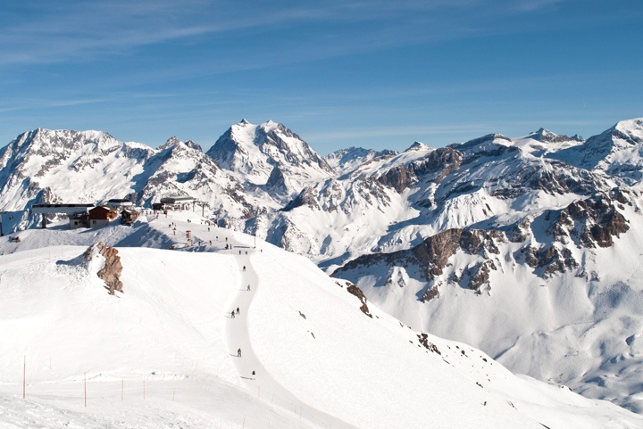 Skiing in Meribel-Mottaret, French Alps