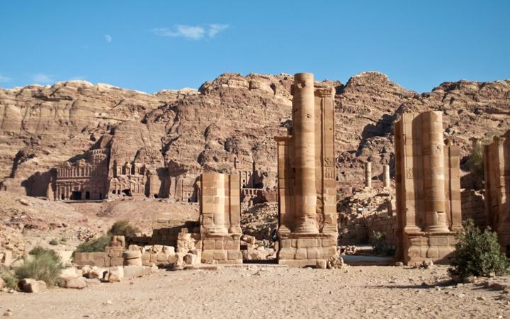 The Royal Tombs and Roman columns at Petra, Jordan