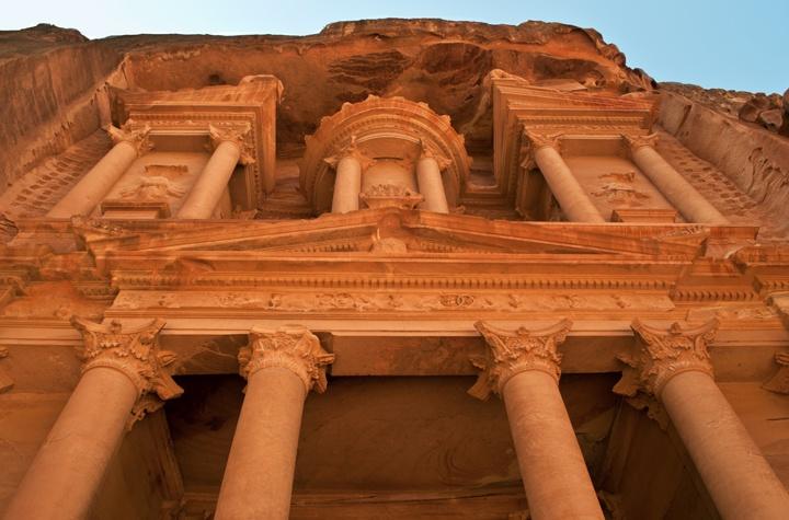 The Treasury at Petra in Jordan at sunset