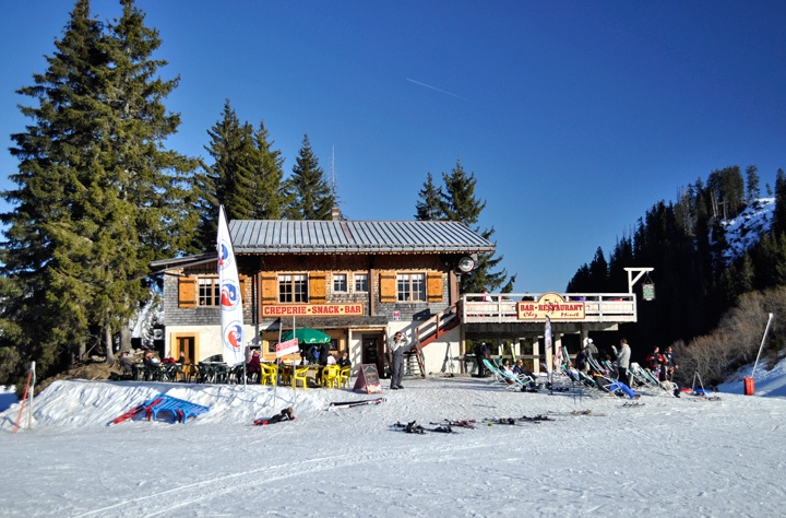 Chez Minet restaurant on the slopes of La Grand Terche, French Alps