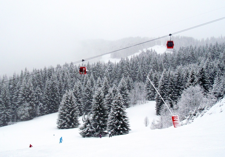 Snow in Les Gets in the French Alps