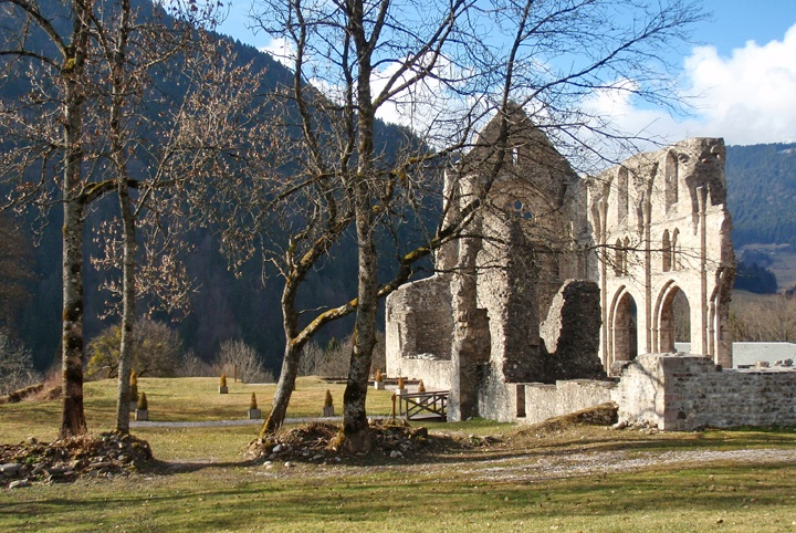 The ruined abbey in St Jean d'Aulps, French Alps