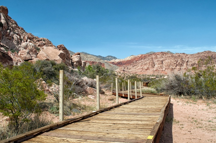 Walkway at Red Springs in Red Rock Canyon, Nevada, USA