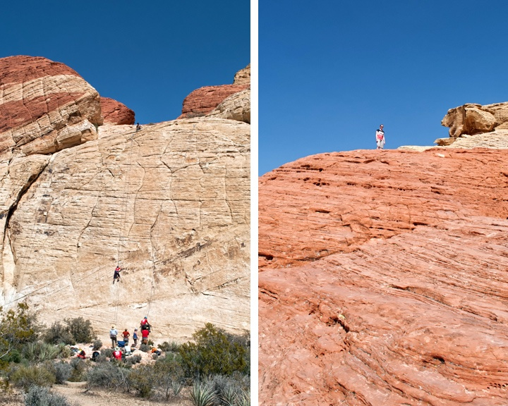 Climbers at Red Rock Canyon in Nevada, USA