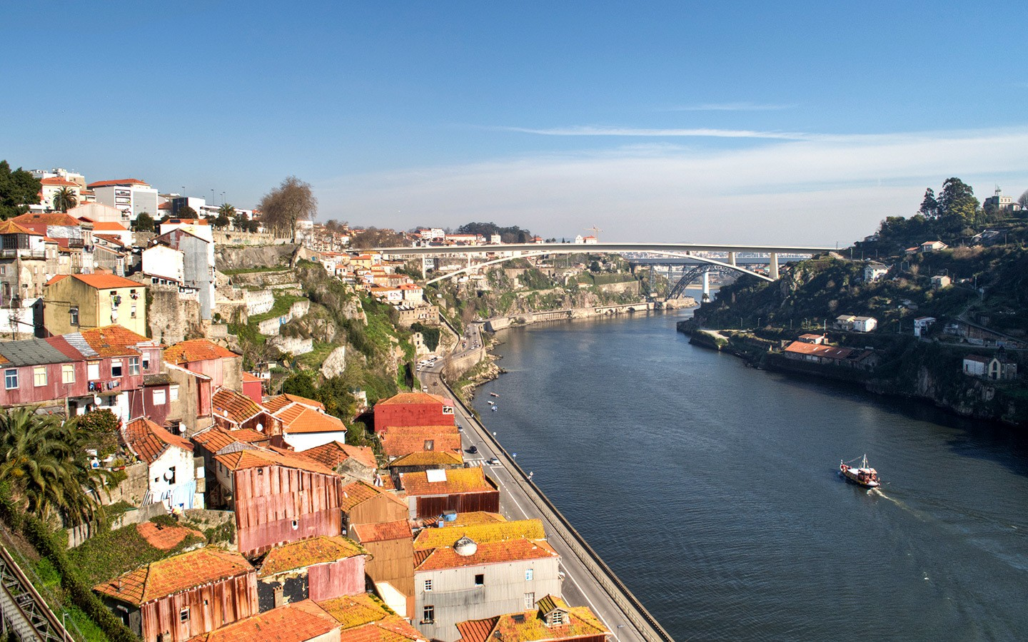 Views from the The Dom Luís bridge in Porto, Portugal