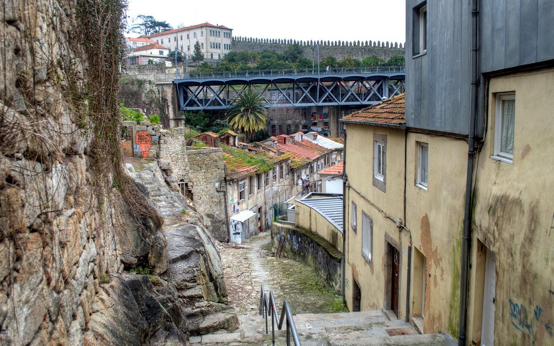 The historic Ribeira in Porto, Portugal