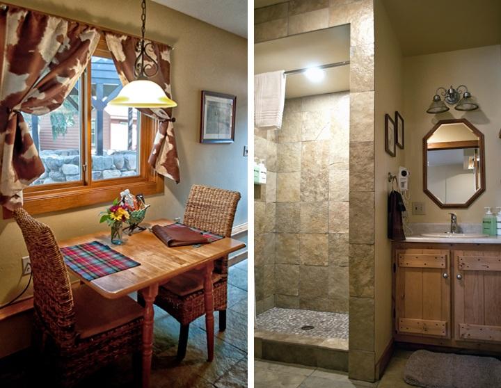 Kitchen area and bathroom at O Bar O Cabins near Durango, Colorado