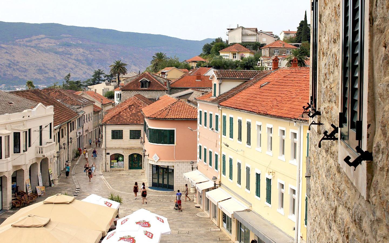 Old buildings in Herceg Novi in the Bay of Kotor, Montenegro