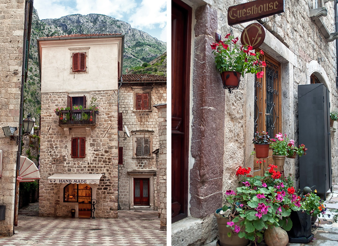 Old buildings and pots of flowers in Kotor Montenegro