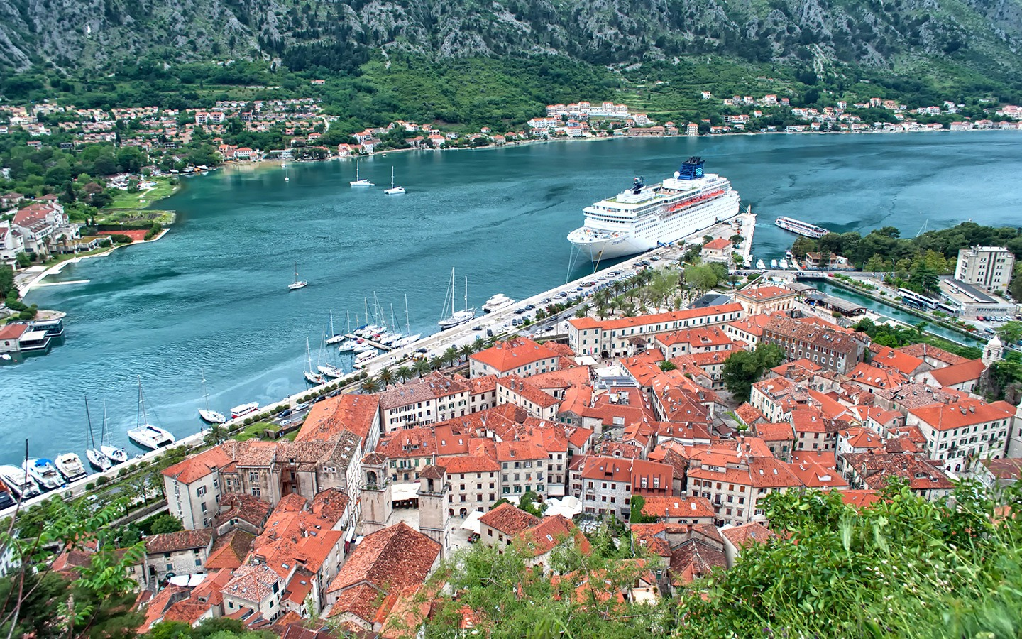 Views of Kotor old town from the walk up the city walls