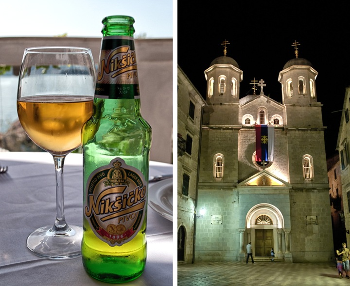 Local beer and the church in Kotor by night