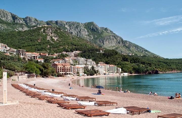 Sveti Stefan beach on the Adriatic coast in Montenegro