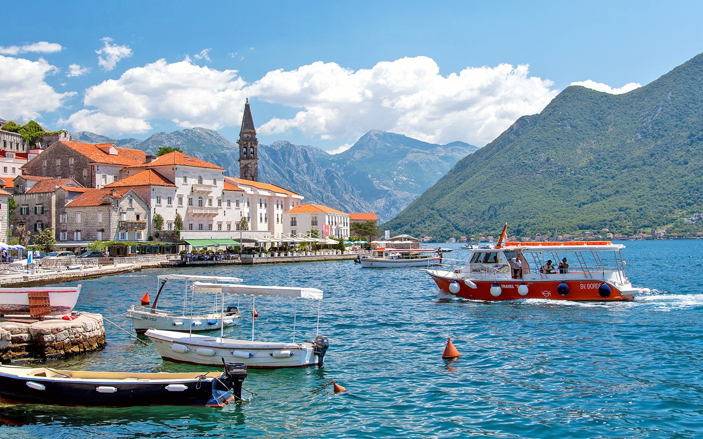 Boats in the harbour in Perast, Bay of Kotor