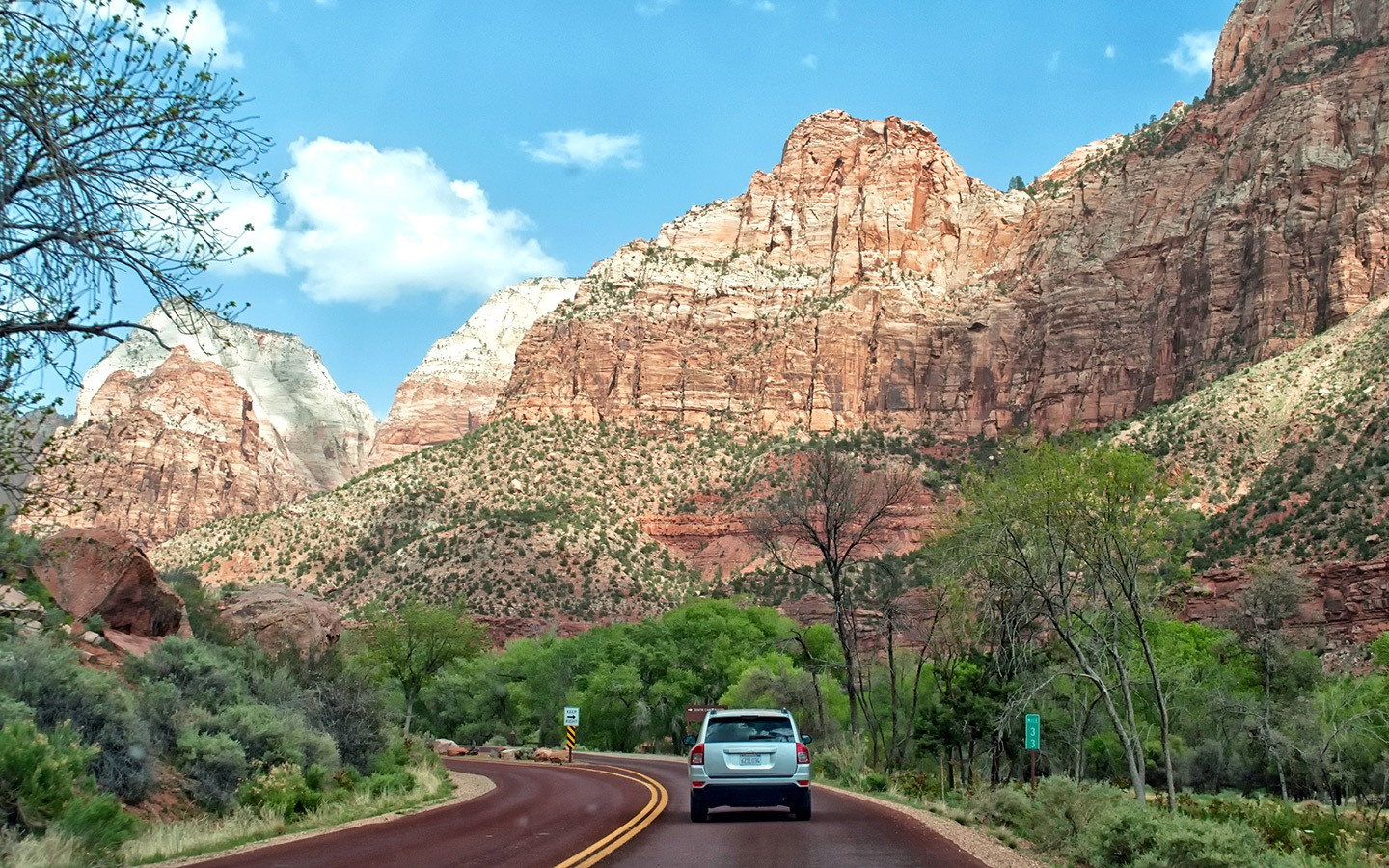 The Zion–Mount Carmel Highway scenic drive in the southwest USA