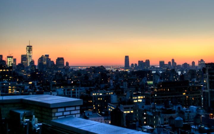 The New York skyline at sunset