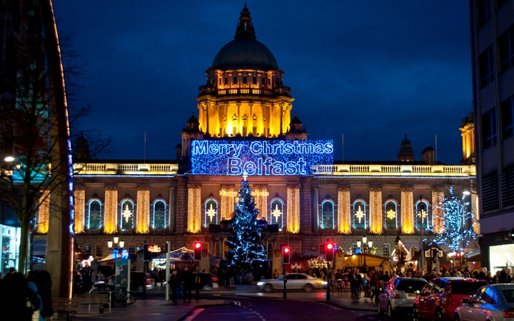City Hall in Belfast at Christmas, Northern Ireland