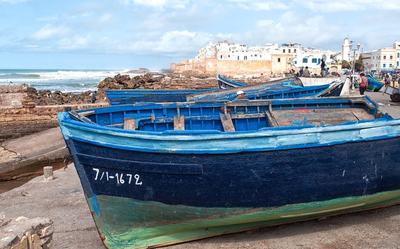 Blue boats in Essaouira port, Morocco