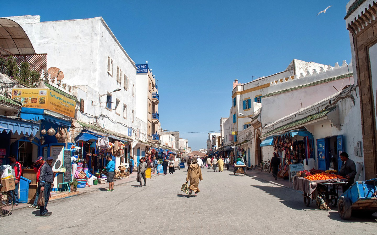 Whitewashed buildings in the medina in Essaouira, Morocco