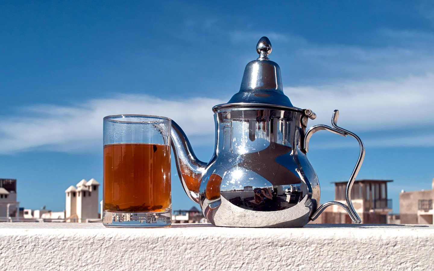 Moroccan mint tea in a rooftop terrace cafe