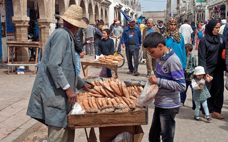 Bread stall in the medina