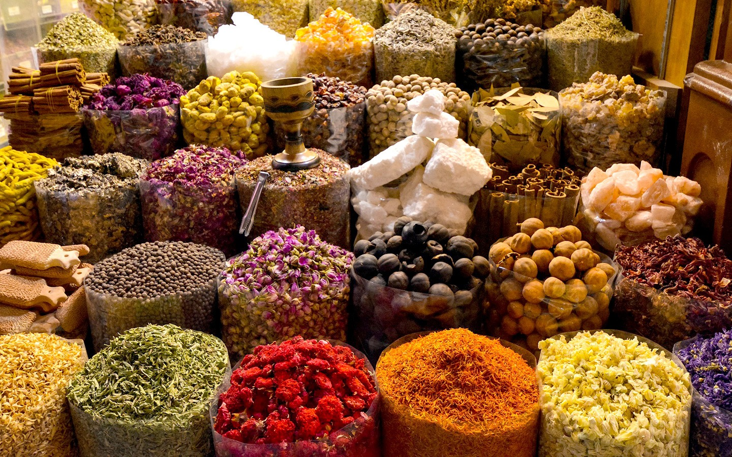 Colourful herbs and spices in the souk, Marrakech