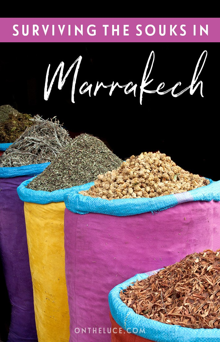Tips for visiting the souks in Marrakech, Morocco – how to avoid getting lost, get the best bargain and avoid getting scammed in the Marrakech souks. #Morocco #Marrakech #medina #souks #shopping