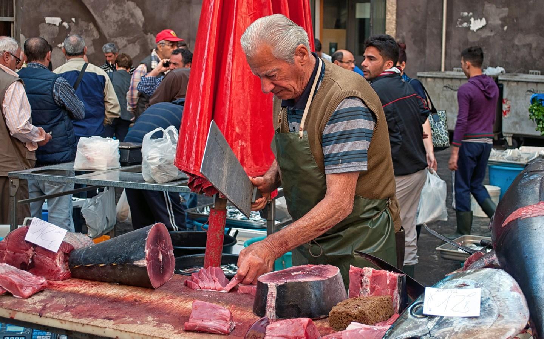 Catania fish market (La Pescheria) in Sicily