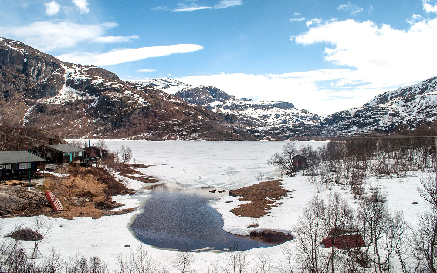 The Reinungvatnet mountain lake in fjord Norway