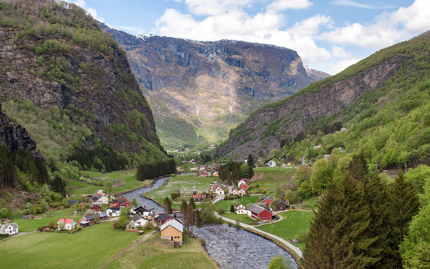 Looking down the Flam Valley in Norway