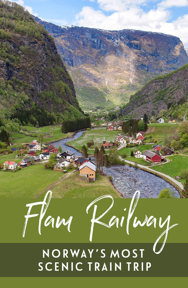 Norway's most scenic train journey, the Flam Railway – or Flåmsbana – runs through the mountains from Myrdal to Flåm in the Norwegian fjords. #Norway #Flam #Flamsbana #train #scenicrailway #Scandinavia