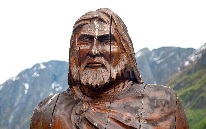 Viking statue at Gudvangen on Norwegian fjord boat tour