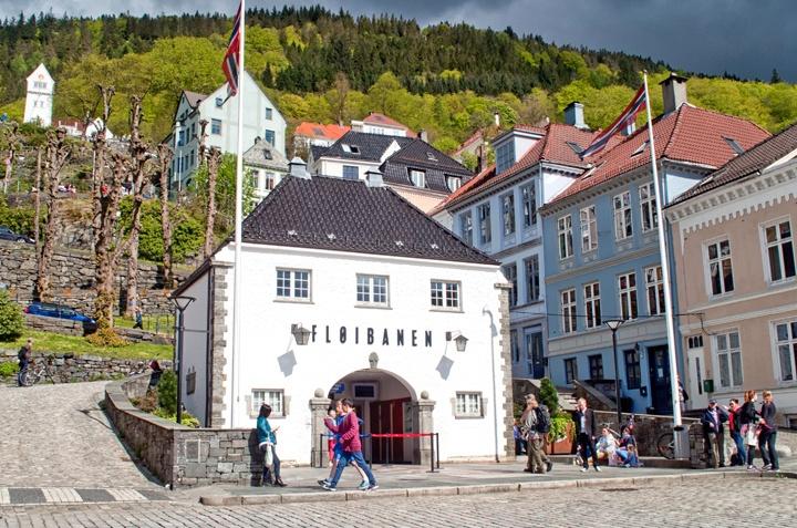 The Floibanen funicular railway, Bergen in Norway