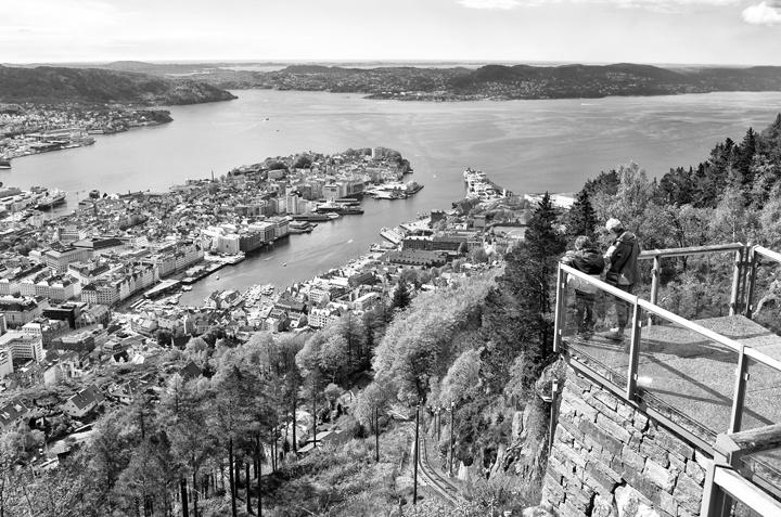 Viewing platform at the top of Mount Fløyen in Bergen, Norway