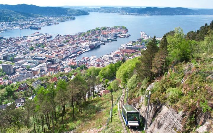 Floibanen funicular railway in Bergen, Norway