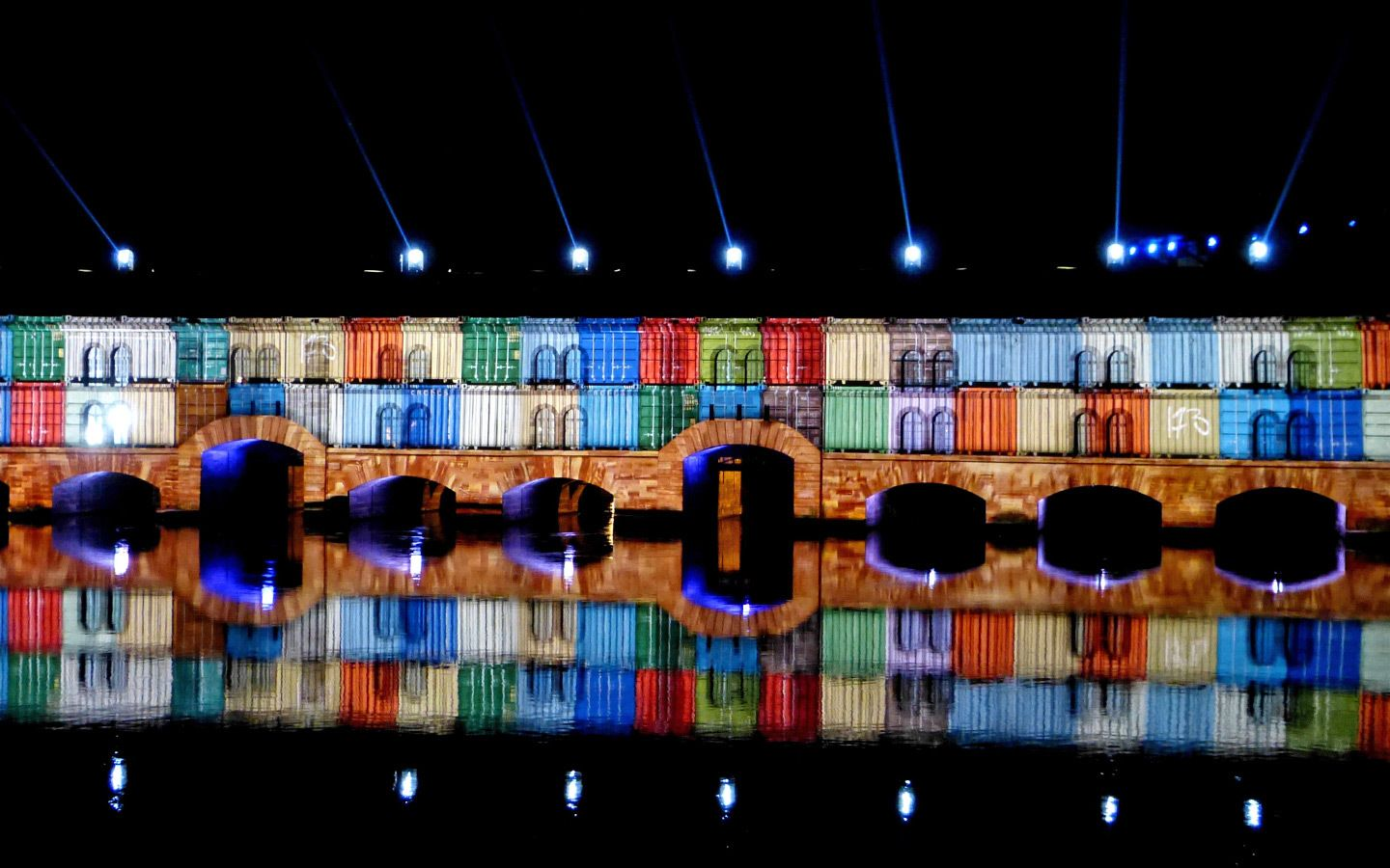 Light show at Barrage Vaubin, one of the things to do in Strasbourg