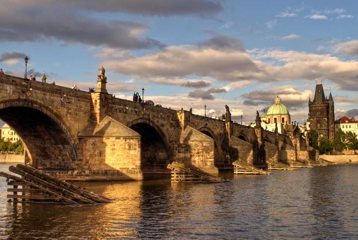 The Charles Bridge across the Vltava River in Pargue, Czech Republic