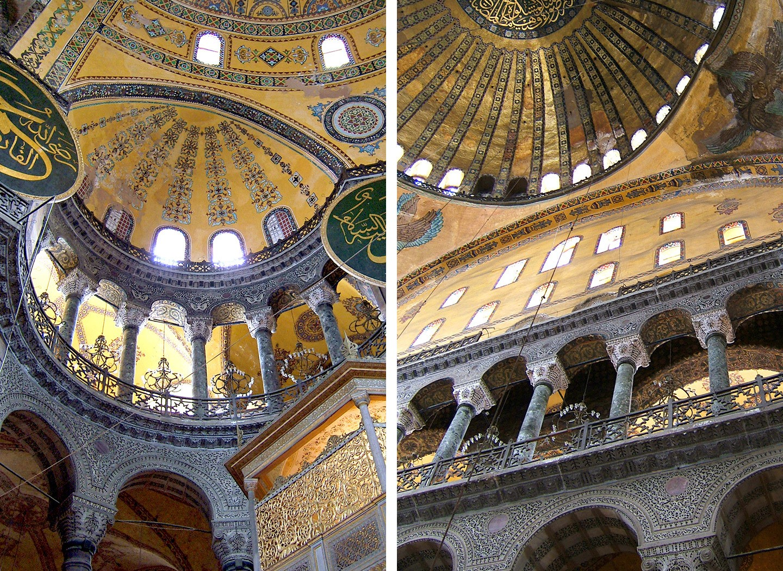 Gold decoration inside the Hagia Sophia in Istanbul