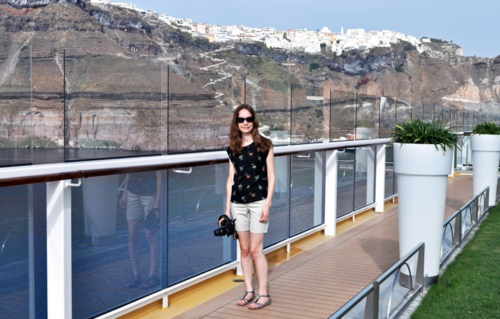Sailing out of Santorini on Celebrity Equinox