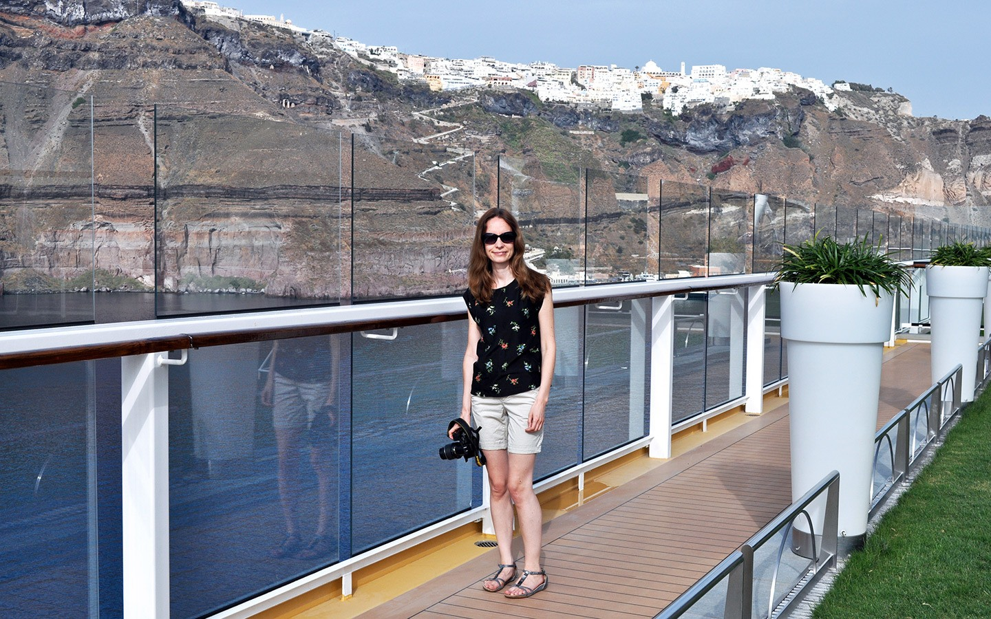 Sailing out of Santorini on the deck of the Celebrity Equinox