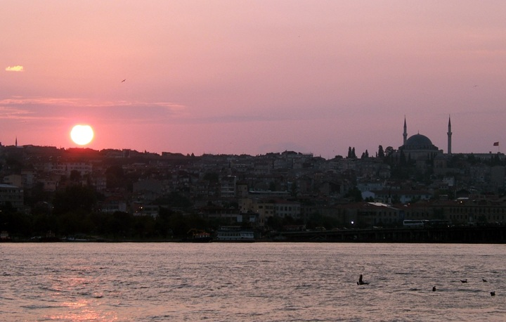 Sunset over the Bophorus, Istanbul, Turkey